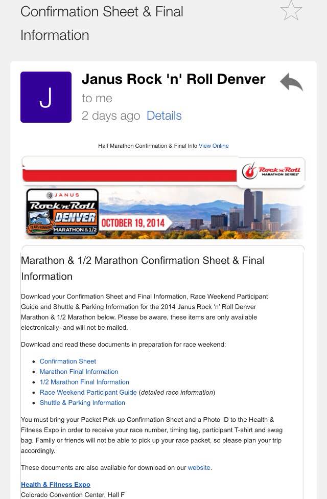 denver race confirmation