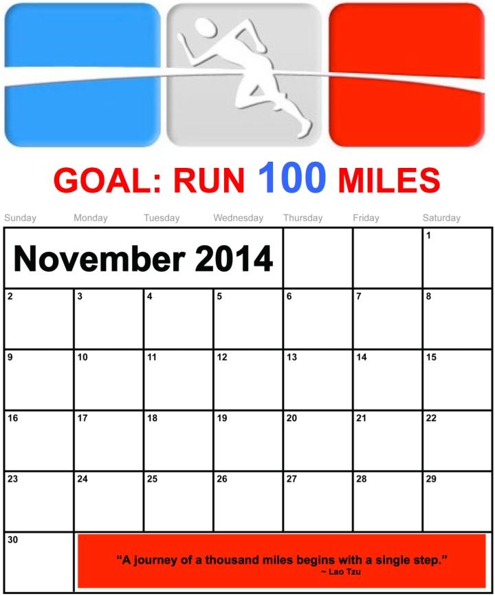 november 100 miles calendar