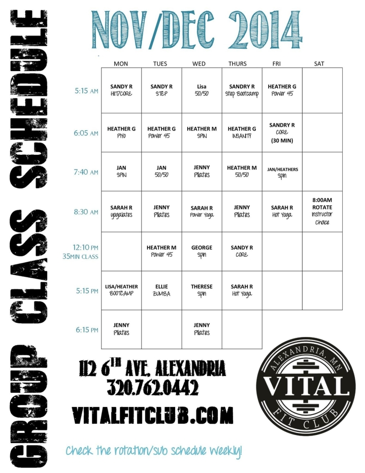 vital fit winter schedule