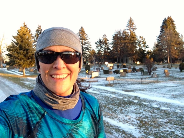 running in cemetery