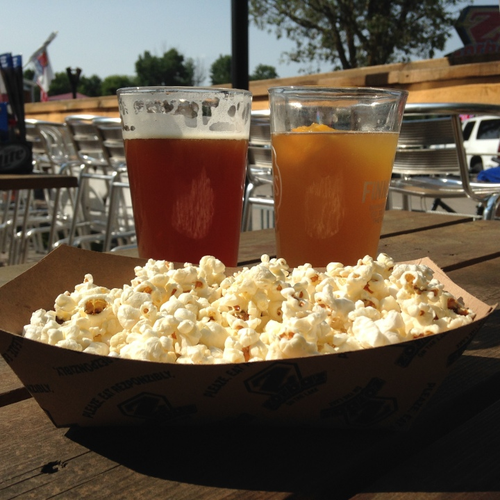 beer and popcorn