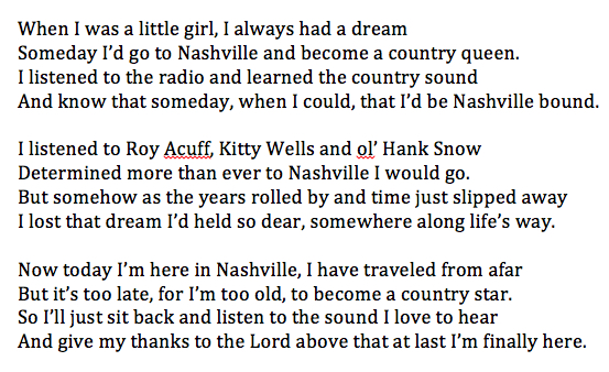 nashville dream typed